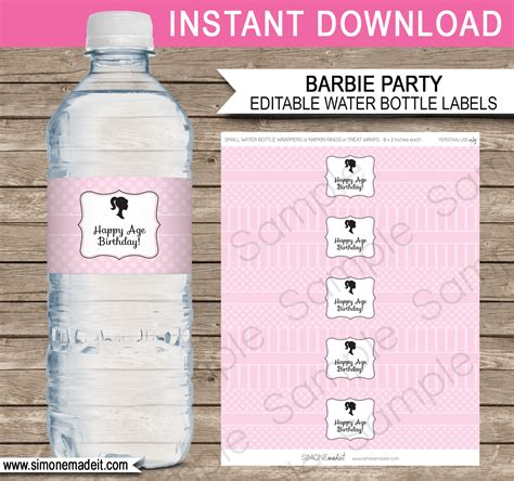 Barbie Party Water Bottle Labels Editable Template 8 Oz Water Bottle Label Template Free