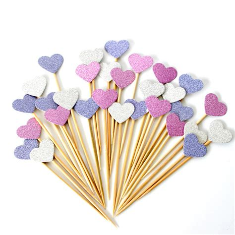 Handmade Cupcake Toppers - 40 pieces lot handmade lovely pink cupcake toppers