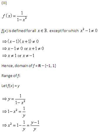 Domain Range Questions Class 11