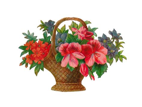 antique images free flower stock image antique flower basket with flowers graphic