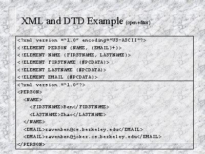 tutorial xml dtd xml and dtd exle open editor