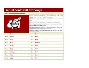 Secret santa list template and secret santa wish list form sawyoo