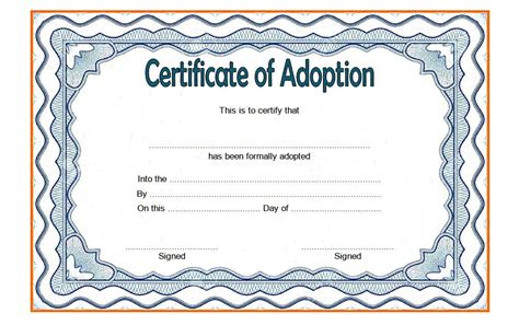 child adoption certificate template adoption certificate template the best template collection