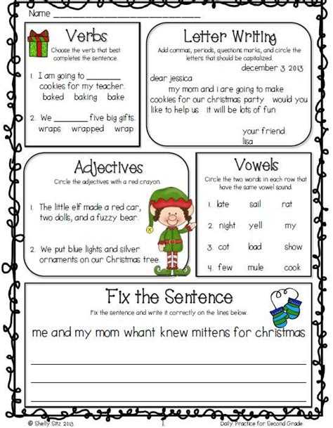 2nd grade grammar christmas common math and language arts daily practice for second grade december morning work