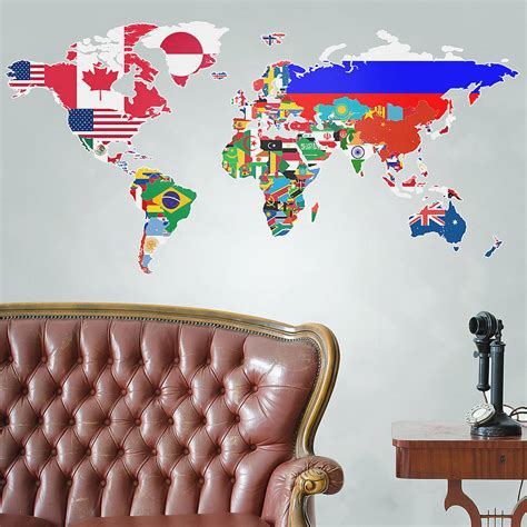 world map wall stickers flags of the world map wall sticker by the binary box