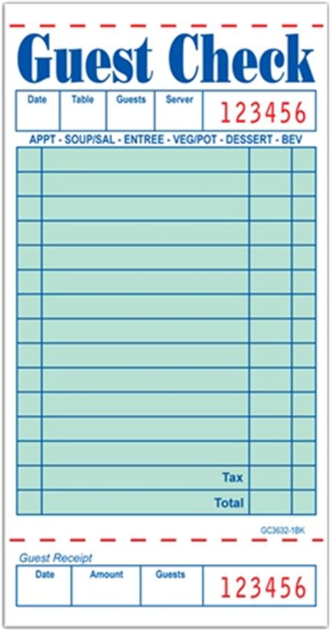 guest check receipt template guest check guest check siingle part 3632 50bk 50sheets
