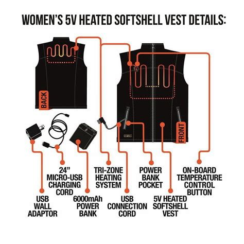 battery powered heat l actionheat 5v battery heated vest women s l