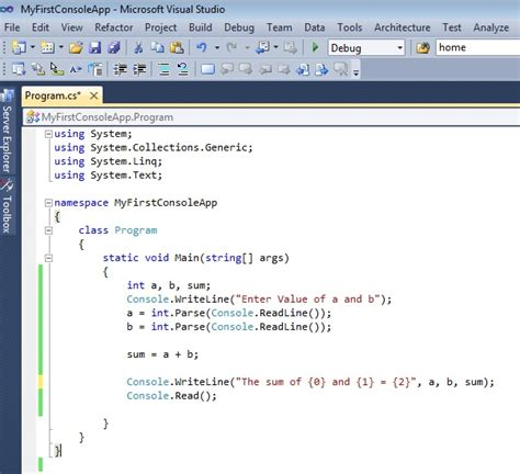 design application visual studio console3 meera academy