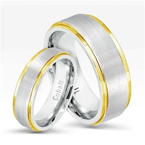 2 tone cobalt wedding band set comfort fit wedding bands