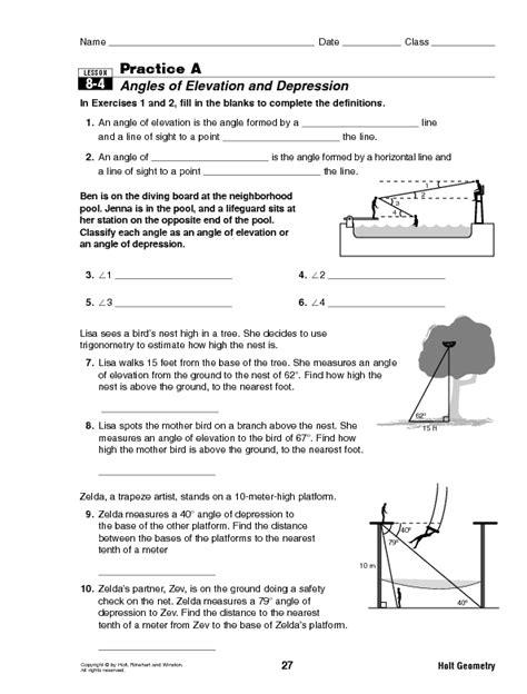 angle of elevation and depression worksheet abitlikethis