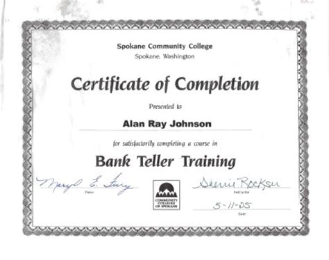 bank teller certificate home page trackpast my free website