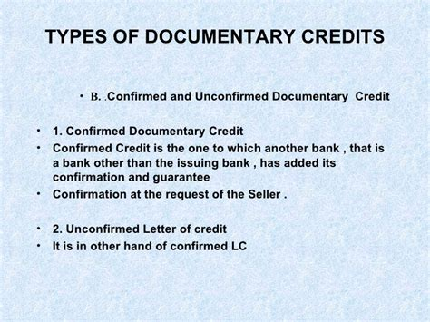 Letter Of Credit Types Letter Of Credit