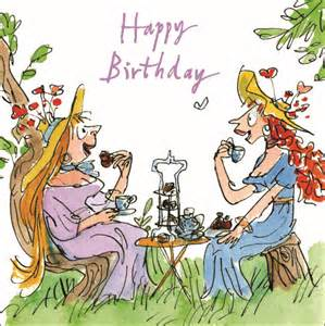 Quentin blake high tea happy birthday greeting card cards love