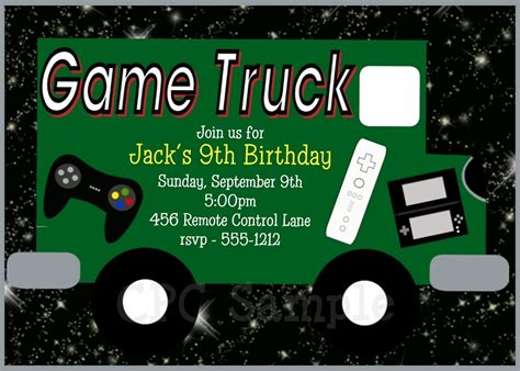 Video Game Truck Birthday Party Invitations Gaming Invitation Template