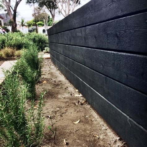 Barleywood Walled Garden Japanese Charred Wood Garden Wall Contemporary