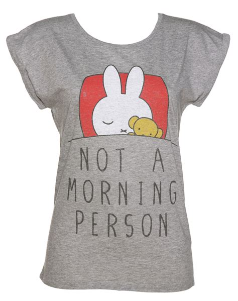 women s miffy not a morning person rolled sleeve tunic t shirt