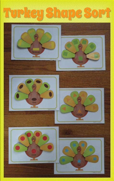turkey shape sorting activity thanksgiving shape