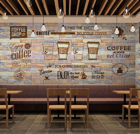 coffee shop wallpaper murals 3d mural photo wallpaper art wall decor personalize large