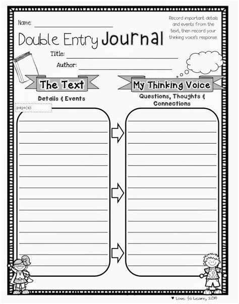 Printable Double Entry Journal | love to learn reading comprehension printables for any