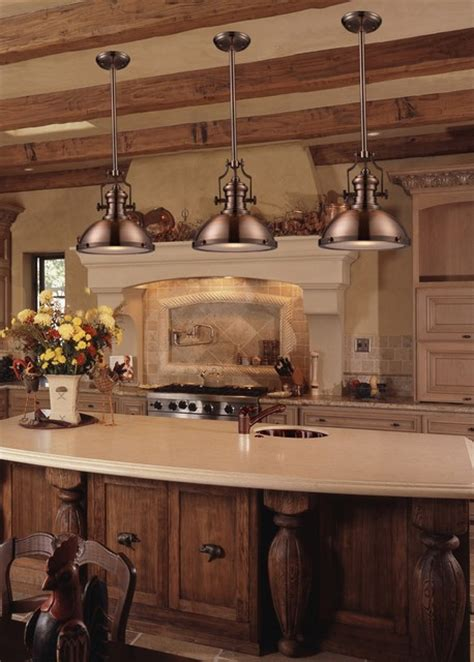 Country Kitchen Lighting Chadwick Industrial Antique Copper Kitchen Pendant Lighting Traditional Kitchen New York
