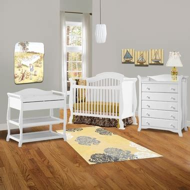 White Crib And Changing Table Set Storkcraft 3 Nursery Set Valentia Convertible Crib Aspen Changing Table And Avalon 5