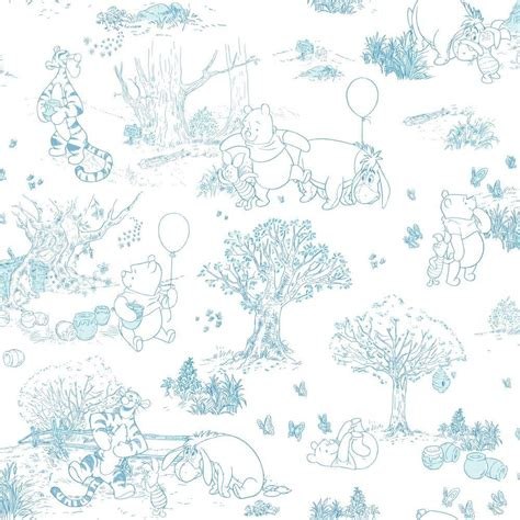 disney wallpaper pooh goodnight vintage blue york wallcoverings walt disney kids ii pooh and friends