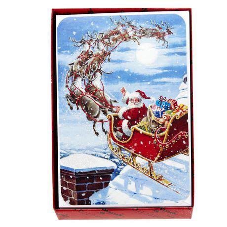 printable christmas cards walmart hallmark santa in sleigh boxed cards walmart exclusive