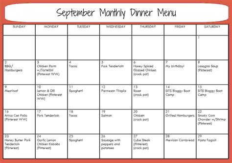 monthly dinner calendar template 8 monthly menu planner template procedure template sle