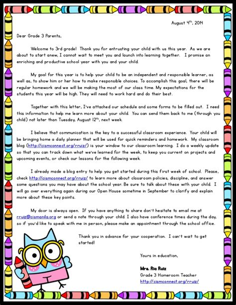 Thank You Letter Format 3rd Grade Welcome Letter
