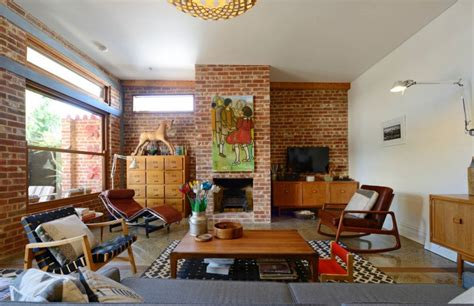 midcentury living room 29 eposed brick wall ideas for living rooms decor