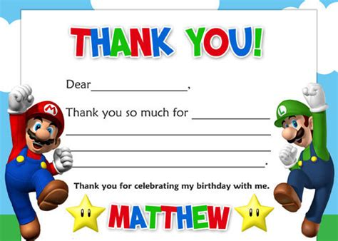 printable mario thank you cards items similar to super mario brothers thank you card