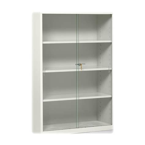 white metal bookshelf with frameless sliding glass door of