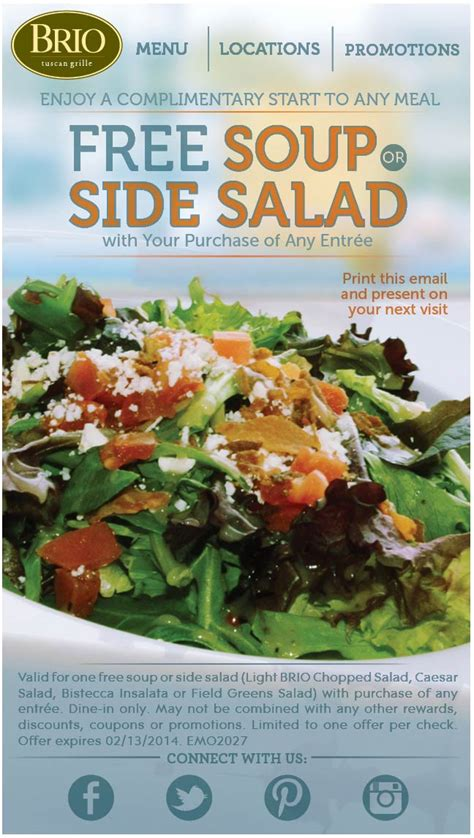 brio tuscan grille coupon brio tuscan grille coupons soup or salad free with your
