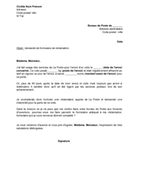 Demande De Formulaire Lettre Exemple Gratuit De Lettre Demande Formulaire R 233 Clamation Perte Un Colis