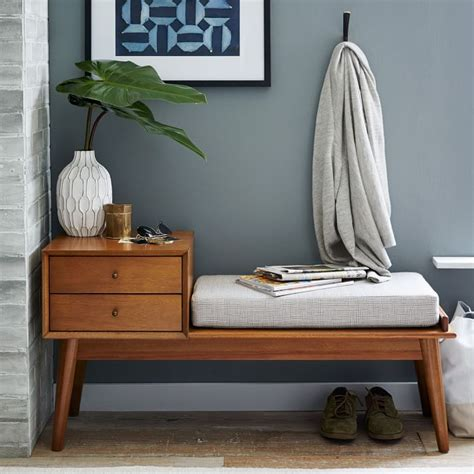 west elm midcentury storage bench wood furniture