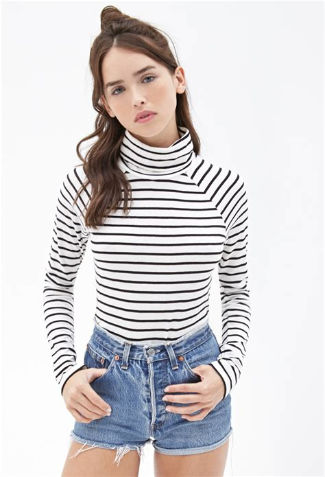 Turtleneck Striped Top forever 21 striped turtleneck top in lyst
