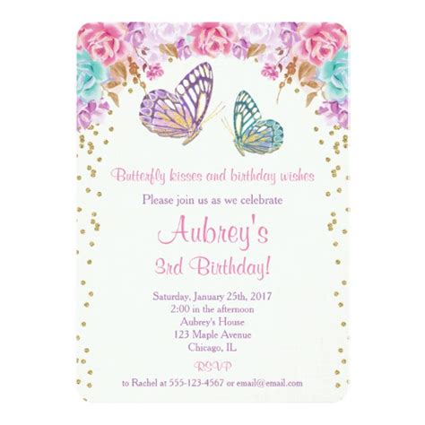 butterfly invitation card template butterfly birthday invitation pink purple gold card