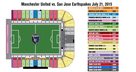 san jose earthquakes directions seating map san jose earthquakes vs manchester united