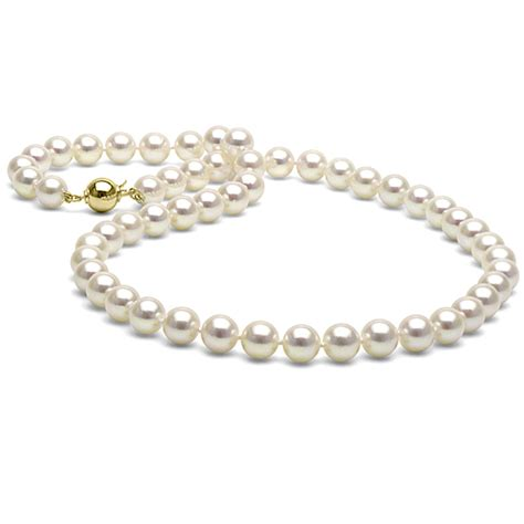 pearls jewelry white akoya pearl necklace 7 5 8 0mm