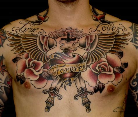 awesome memorial old tattoo on chest