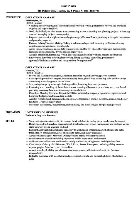 Cover Letter For Operations Analyst by Operations Analyst Resume Sle Www Hooperswar