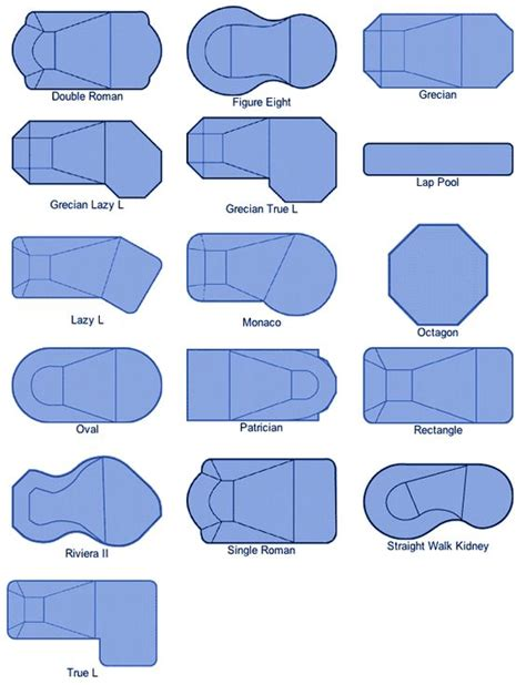 swimming pool shapes and sizes vinyls models and swimming pool designs on pinterest