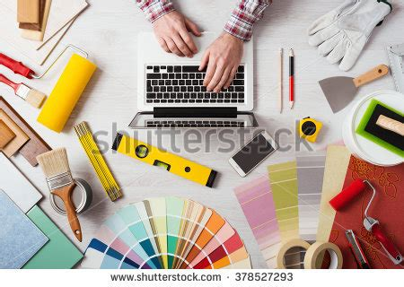 professional decorator professional decorator s hands working at his desk and