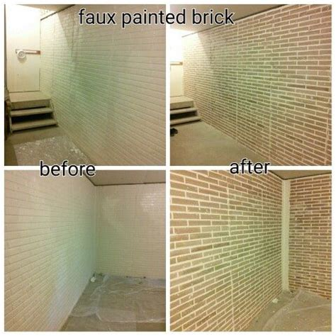 faux painted bricks on basement wall sted brick molded