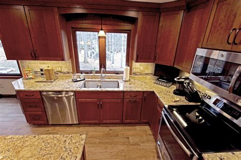 Elkay Kitchen Faucet by Cherry Cabinets With Quartz Countertop Strongsville Oh