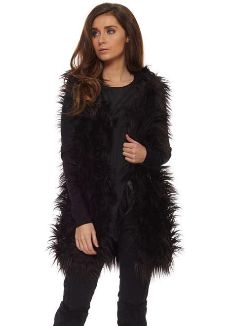 Luxury Designer Dresses - fluffy faux fur gilet black fur fluffy waistcoat as seen on towie
