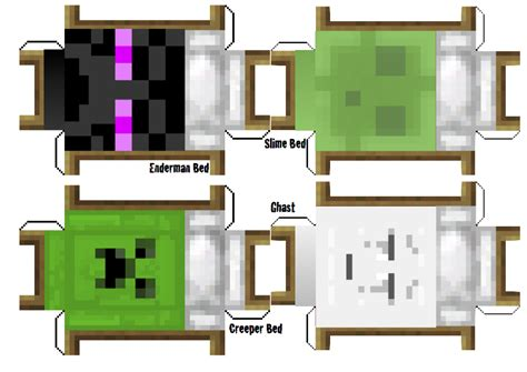 Minecraft Papercraft Bed - papercraft hostile mob beds