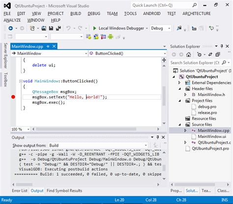 qt tutorial in linux creating qt5 projects on ubuntu with visual studio