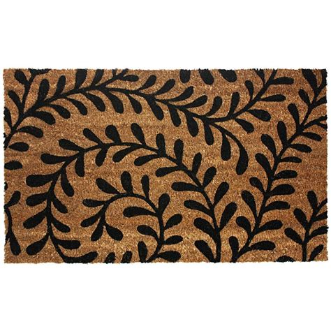 back door rugs j m home fashions black ferns 18 in x 30 in vinyl back coco door mat 4292 the home depot