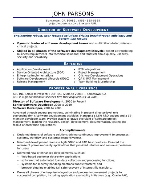 software developer resume sle resume sle experienced software engineer 28 images